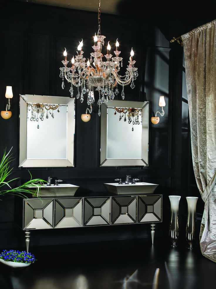 An Ultra Luxurious His And Hers Style Vanity With Matching Chandelier,  Perfect For Any Luxury Bathroom.