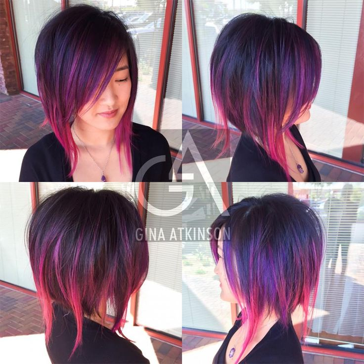 HOW-TO: Purple & Wild Orchid Highlights on a Disconnected A-Line Haircut | Modern Salon