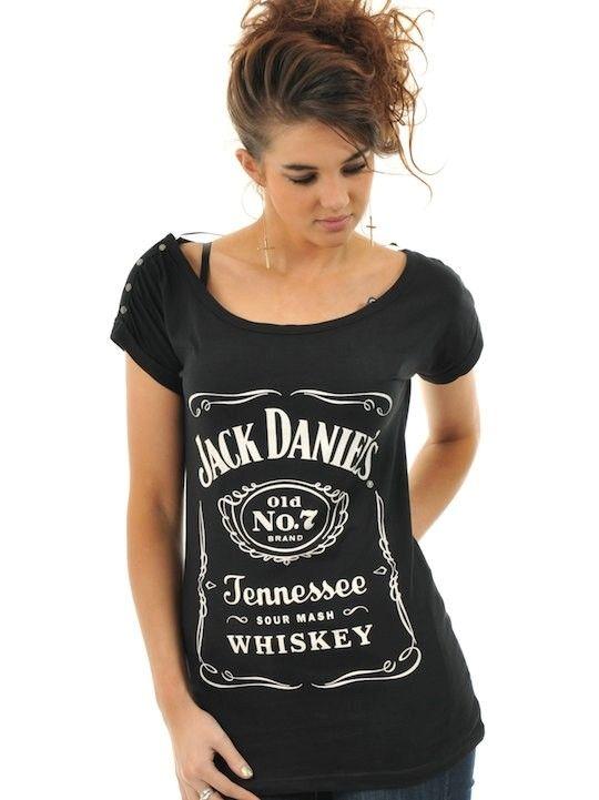 Jack Daniels Black Classic Logo Womens T-Shirt