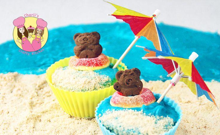 Tiny Teddy Beach Cupcakes - summer beach theme party - tutorial by Ashlee