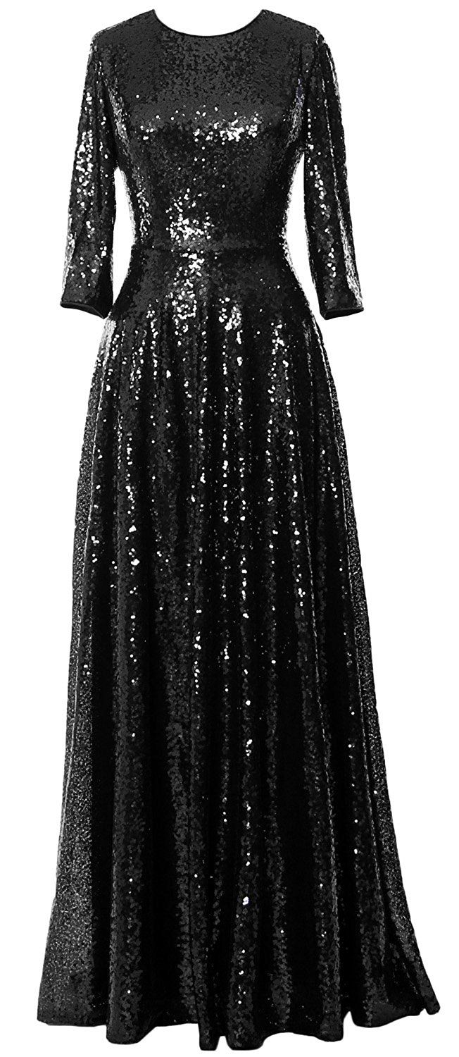 MACloth Women Sleeve Sequin Evening Gown Vintage Mother of the Bride Dress  Black)