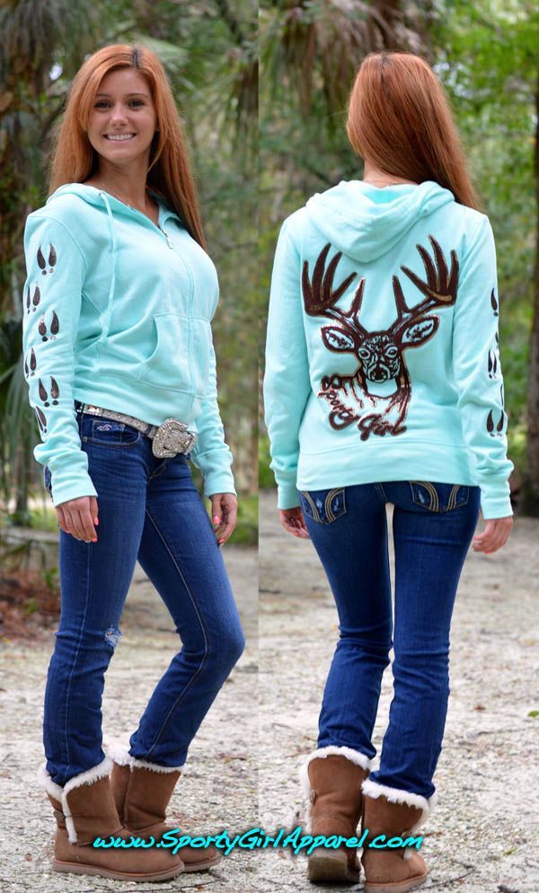 Tiffany and brown glitter buck hoodie. Love everything about this outfit.
