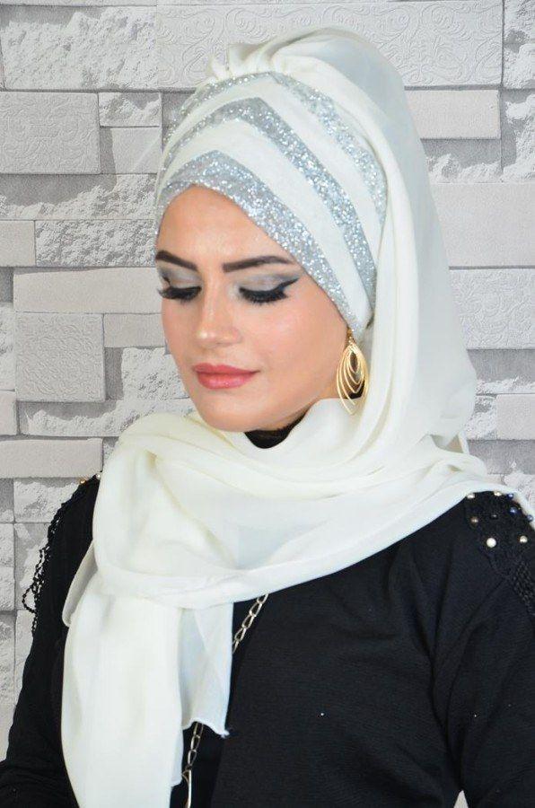 6505f382df0a9 Aişe Tesettür - Kırık Beyaz Gümüş Drapeli Abiye Şal | Scarf in 2019 ...