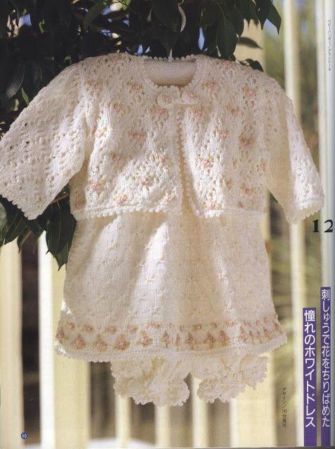 Crochê Tricô - Gráficos: Casaquinho, Vestido e Calcinha em Tricô