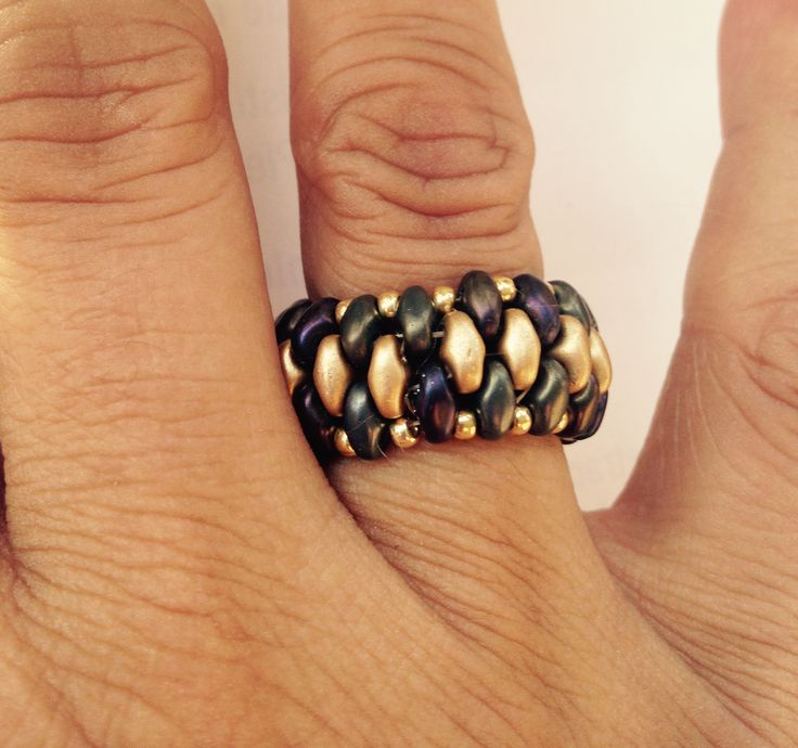 AB & Gold Superduo Ring