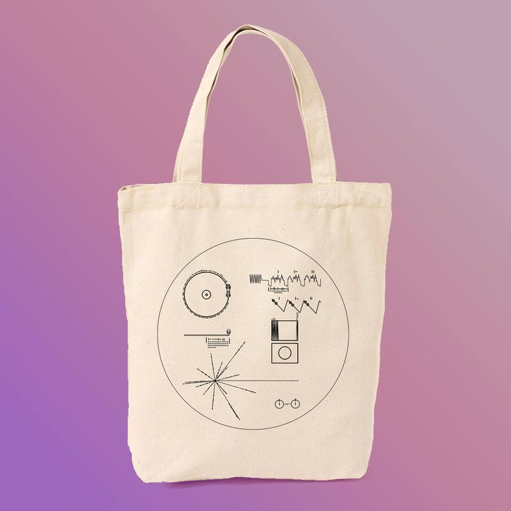 Voyager Golden Record Canvas Tote Bag https://www.etsy.com/listing/545180453/voyager-golden-record-plaque-vinyl-print