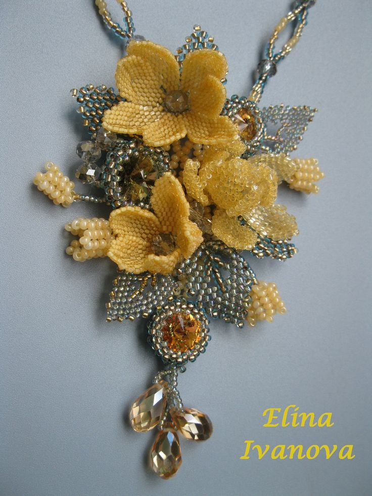 Beaded pendant dark autumn flower and leaves by Elinawonderland