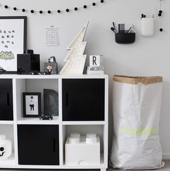 A monochrome styled kids bedroom featuring a Mocka Six Cube Storage Unit. Styled by The Design Chaser.