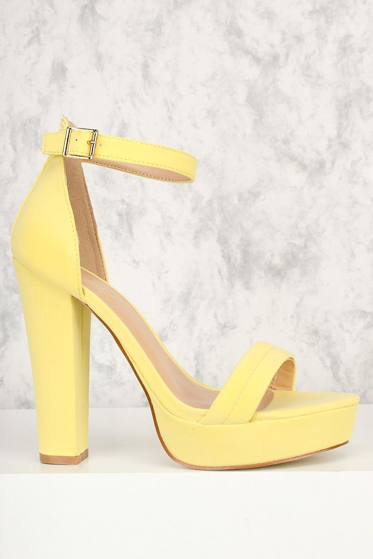 Yellow Open Toe Ankle Strap Chunky High