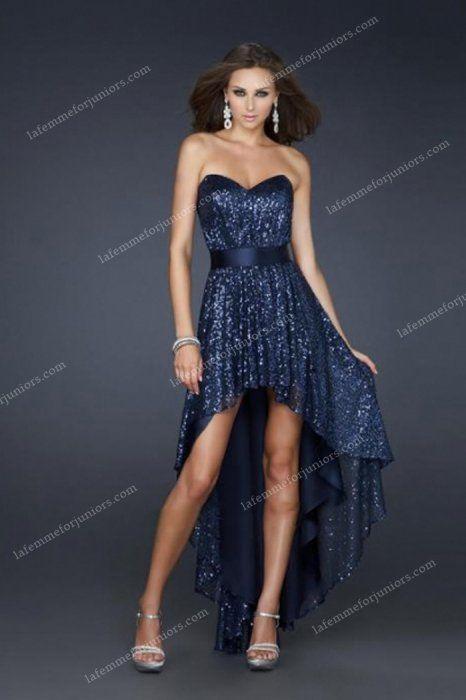 High Low Strapless Navy Sexy La Femme 17334 Homecoming Dresses [La Femme 17334] - $170.00 : Juniors' Dresses   Cheap Prom Dresses 2014  Homecoming Dresses Discount