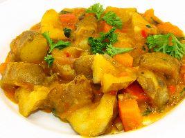 Een heerlijk voedselzandloper recept  voor pompoen en aardperen gegaard in zelfgemaakte curry.