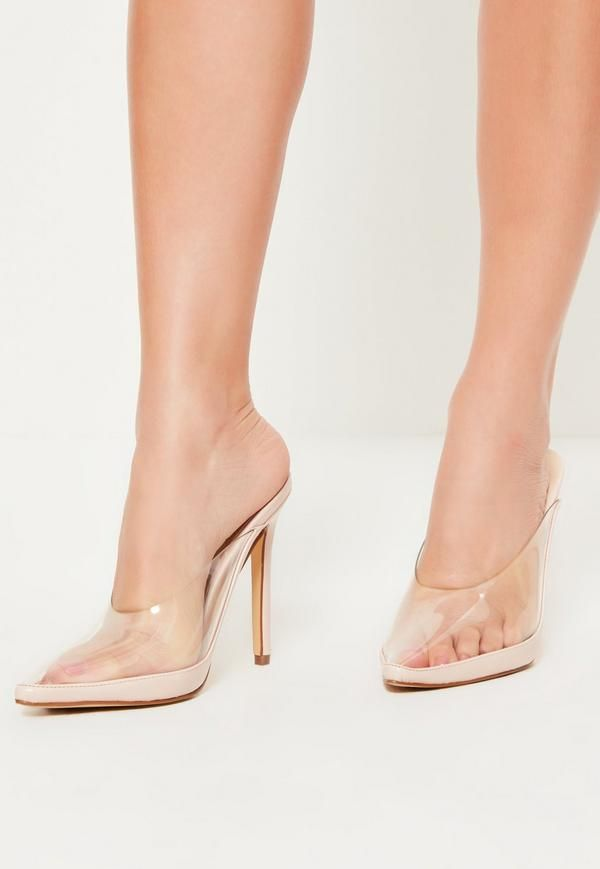 These nude pointed toe heeled mules with clear cover to the front are the perfect addition to your shoe-drobe!