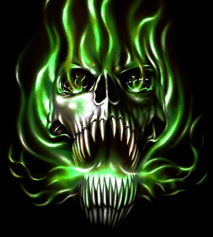 Green Flaming Skull | www.imgkid.com - The Image Kid Has It!