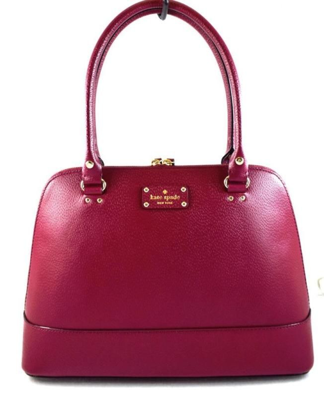 AUTHENTIC NEW NWT KATE SPADE $428 LEATHER RACHELLE WELLESLEY RED SATCHEL BAG