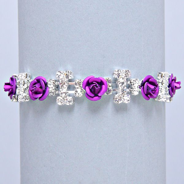 Purple rose diamante tennis bracelet only £8.99 from WWW.GlitzyGlamour.co.uk (available in other colours)