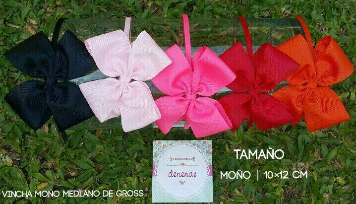 Vincha moño mediano gross. Negro - rosa claro - coral - rojo - naranja - Moños para niñas - Bows for girls #accesorios para nenas @denenasaccesorios