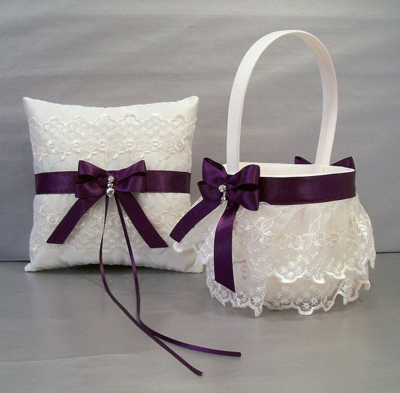 Plum Purple Wedding Bridal Flower Girl Basket and Ring Bearer Pillow Set on Ivory or White Double Loop Bow, Hearts Charm,  Rhinestone Bead
