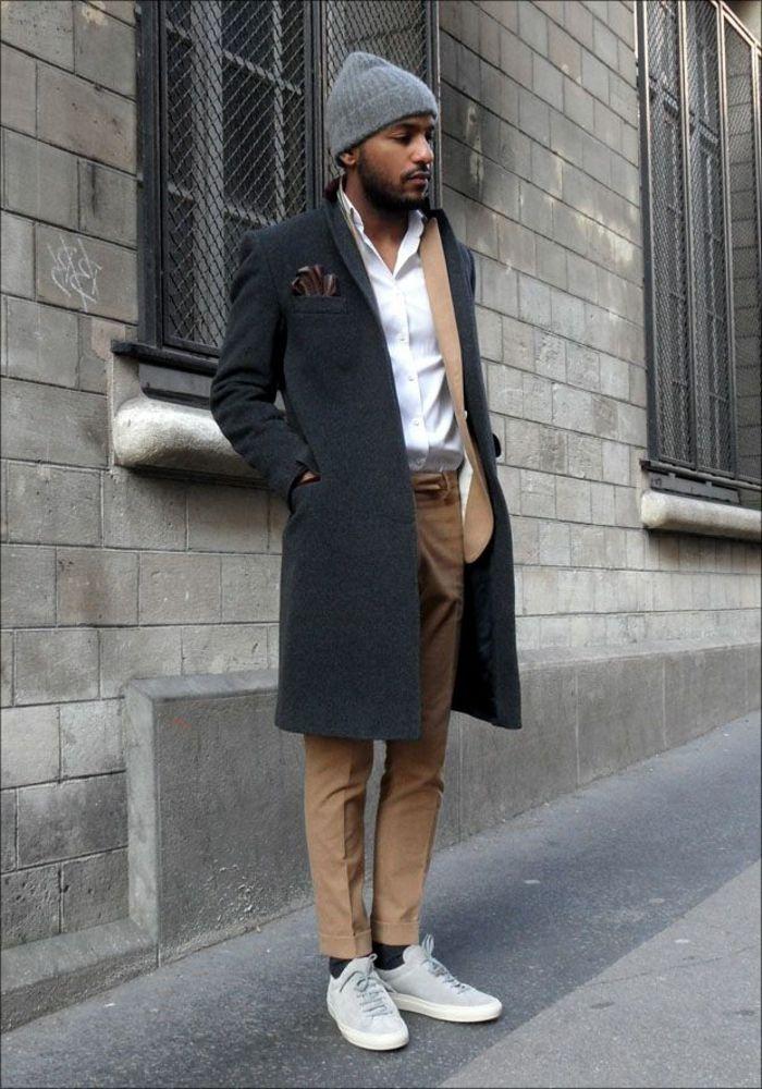comment etre elegant avec un manteau homme celio gris long