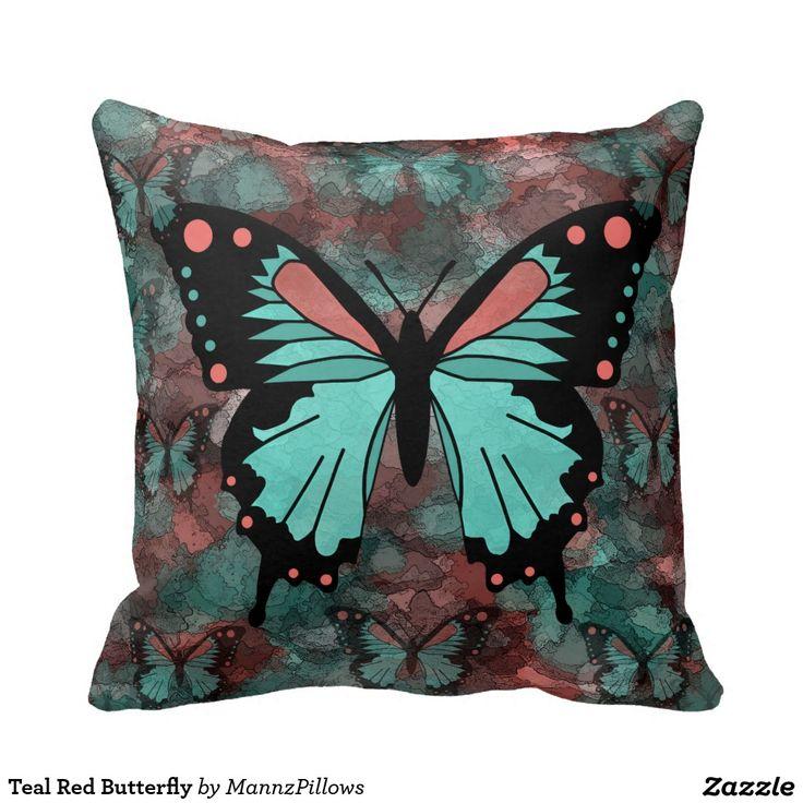 #ThrowPillow #Cushion #Pillow Teal Red Butterfly Pillow Throw Pillow