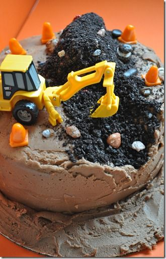 Construction Cake by fredellicioius: Just 'excavate' your favorite chocolate cake and pile