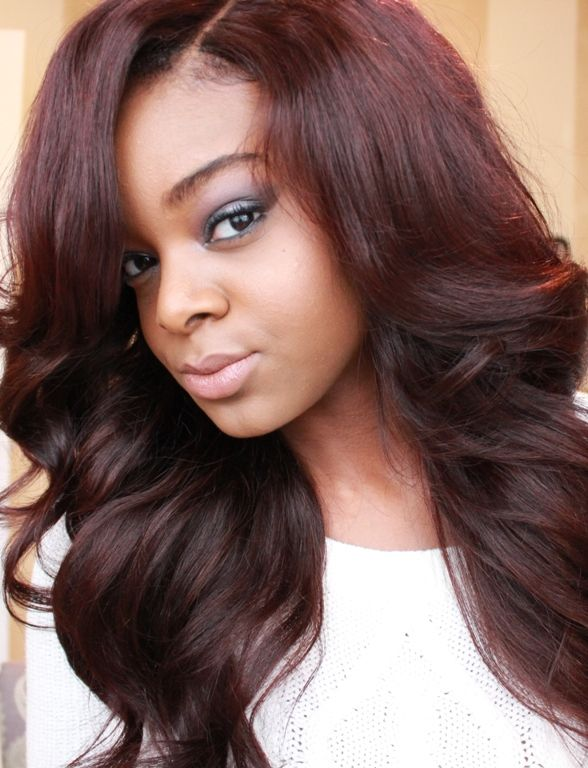 Burgundy Hair Color On Dark Skin