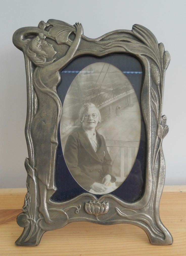ANTIQUE VINTAGE PEWTER PHOTO FRAME ART NOUVEAU STYLE ~ SOLD ON MY EBAY SITE LUBBYDOT1