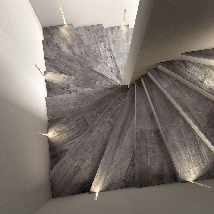 #Scala realizzata con DOLPHIN Gradone Grey di ABK. #abkemozioni #gres #porcellanato #ceramica #ceramics #tile #floor #stairs