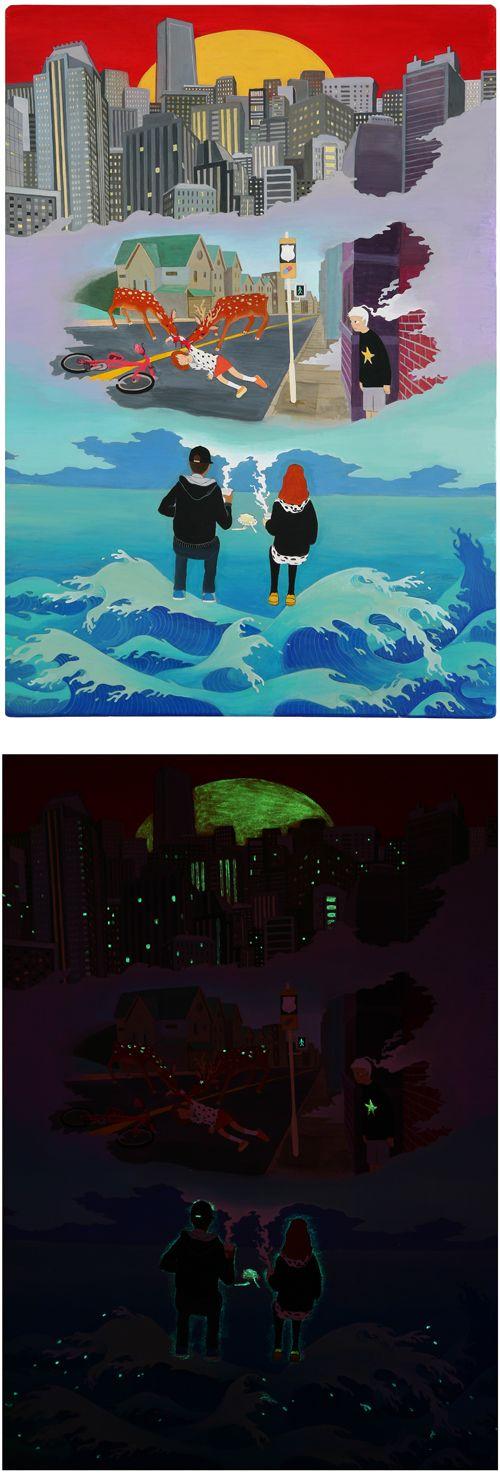 PJ.KIM 방사능 바다가 들려주는 이야기 2011. acrylic on wood 53 x 76 cm   야광 물감을 사용해 봤습니다. 밤에는 이런 느낌입니다.