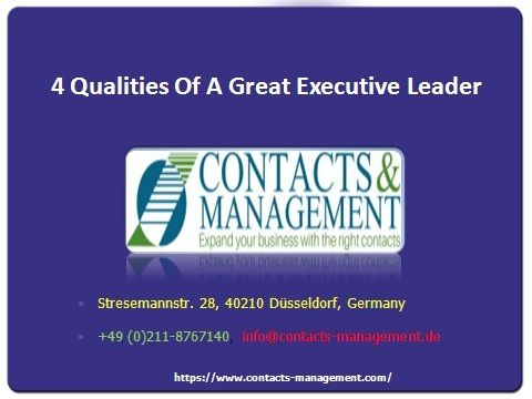 4 Qualities Of A Great Executive Leader  >>>  As one of the Top 10 Recruitment Companies in Germany, we come across many candidates and these are some of the traits all German Recruitment Agencies look for in every candidate:    #RecruitmentCompanyGermany  #GermanRecruitmentAgencies
