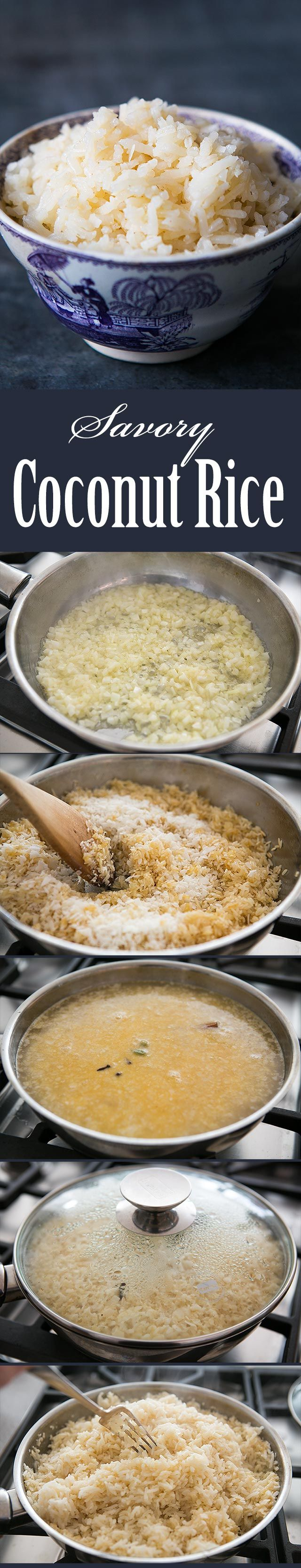 Savory Coconut Rice ~ Savory Indian-style coconut rice, with onions, garlic, grated coconut, cardamom, cloves, and cinnamon. ~ SimplyRecipes.com