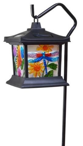 Solar Powered Hanging Floral Stained Glass LED Light