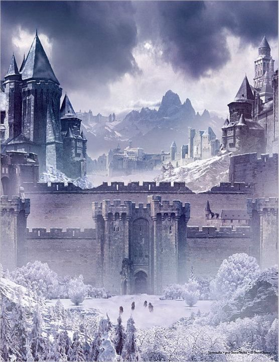 """Winterfell seat of House Stark. Title: Warden of the North, King in the North, King of the Trident. House words: """"Winter is Coming""""."""