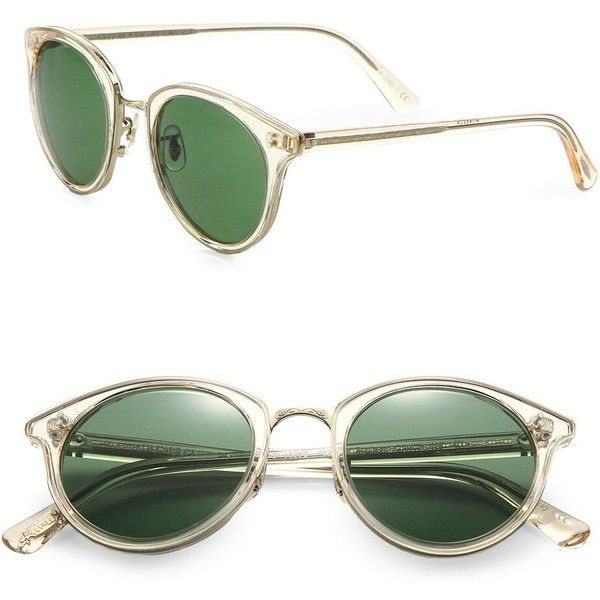Oliver Peoples Spelman 50MM Round Sunglasses (3.215 HRK) ❤ liked on Polyvore featuring accessories, eyewear, sunglasses, apparel & accessories, green, vintage style sunglasses, uv protection glasses, green sunglasses, oliver peoples glasses and lens glasses