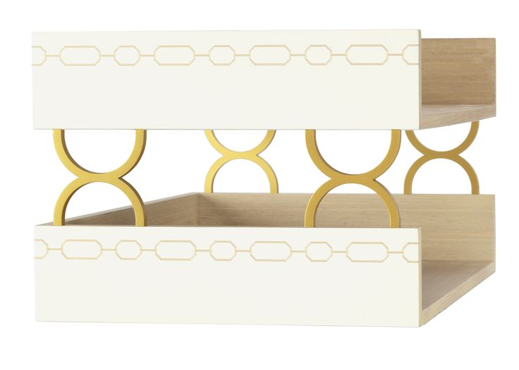 Spun bamboo with accents of gold chain is what makes up our glamorous, sophisticated letter trays.