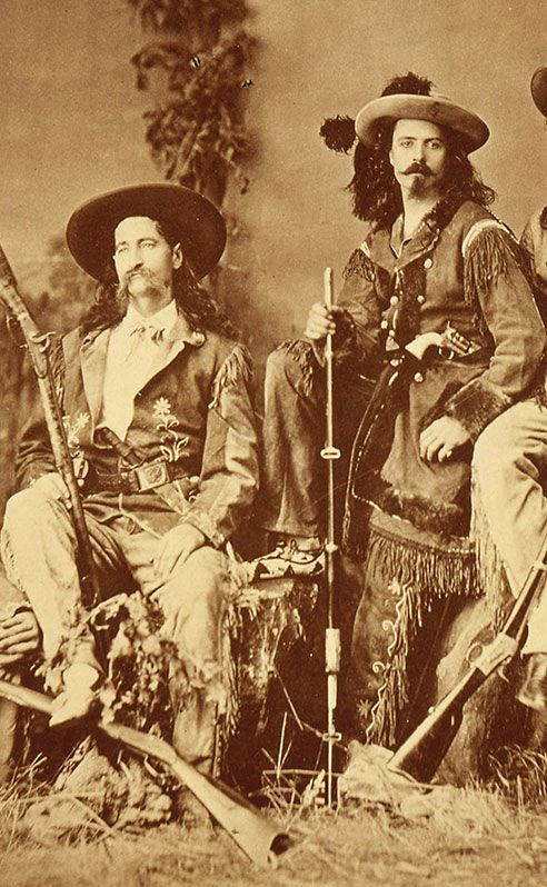 """James Butler """"Wild Bill"""" Hickok and William F. """"Buffalo Bill"""" Cody in 1873, dressed for the stage. Description from centerofthewest.org. I searched for this on bing.com/images"""