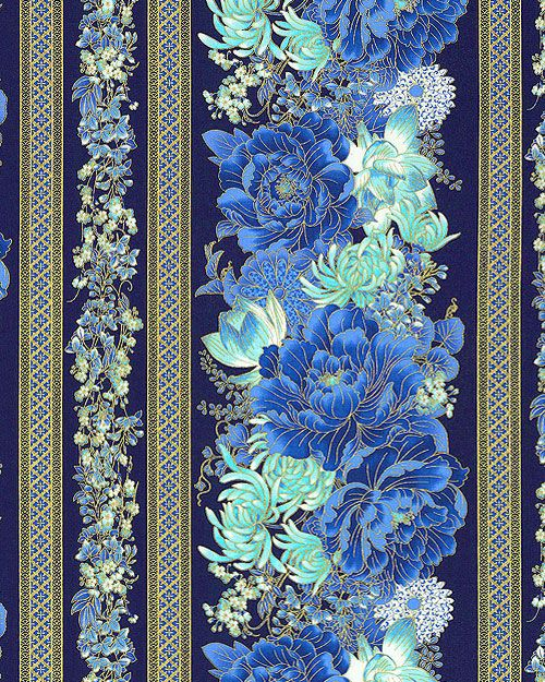 Imperial Garden - Flowers for the Empress Stripe - Blue/Gold