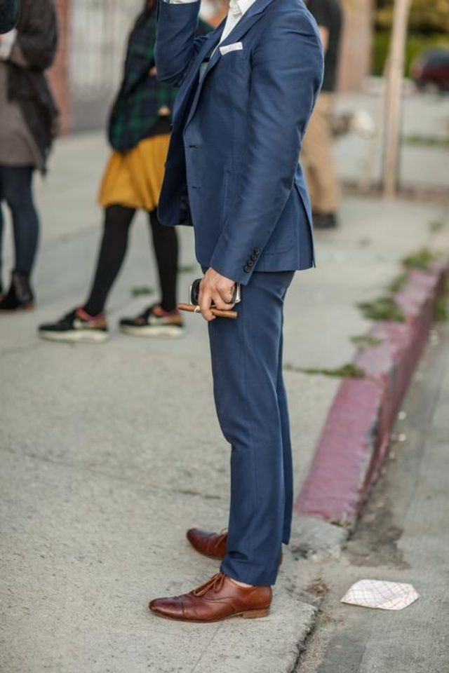 Navy Blue Suit, Brown Shoes