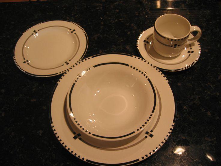 Vitromaster Top Hat Vintage Stoneware Dinner Set White Black Indonesia 63pc Lot #Vitromaster