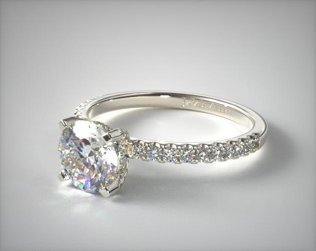 14K White Gold Petite Pave Crown Diamond Engagement Ring