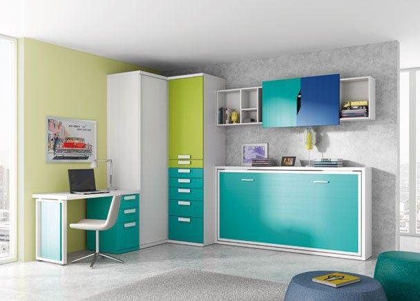 Las 25 mejores ideas sobre habitaciones verdes azules en - Habitaciones juveniles camas abatibles horizontales ...