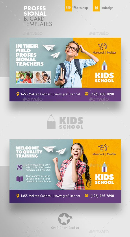 Kids School Business Card Templates Poster Design Kids Business Card Design Social Media Design Inspiration