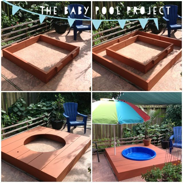 ~The Baby Pool Project~ My husband made this awesome #DIY Baby Kiddie Pool Deck  • Step 1 - Measure and build a center base • Step 2 - Build an outer base  • Step 3 - Build the platform/deck and drill an umbrella hole  • Step 4 - Paint with waterproof deck paint • Step 5 - Fill with water, add a potted palm tree and enjoy your Summer! ☀  (So easy to put away in pieces once Summer ends and you need the space back!)