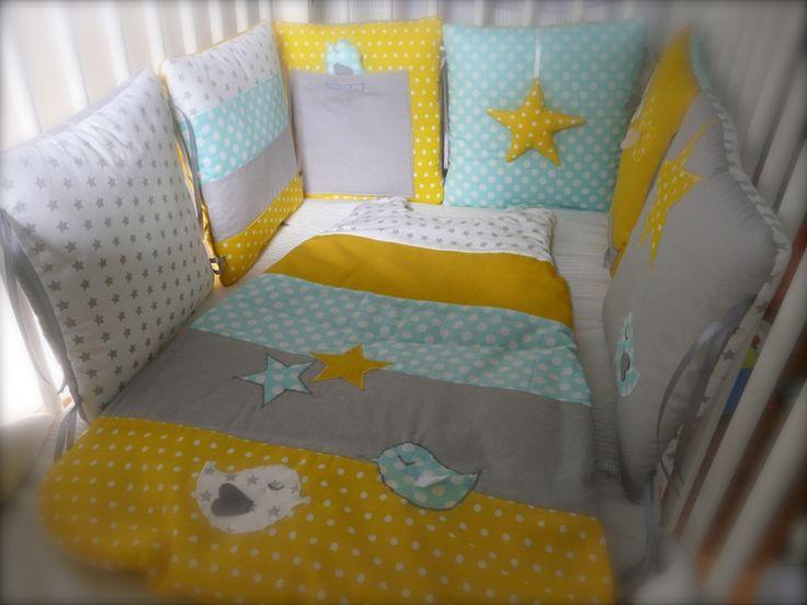 Des piou-pious et des étoiles... bleu gris jaune