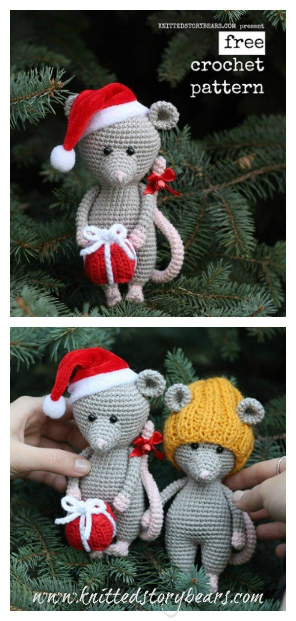 - Pattern Gnome as gift Big toy Mouse Rat CROCHET PATTERN MOUSE   Amigurumi Tutorial Christmas pattern English