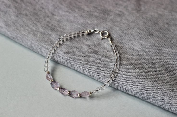 Clear Quartz and Natural Pink Amethyst Faceted Gemstones with Thai Karen Hill Tribe Fine Silver Beads Bracelet by ILgems on Etsy