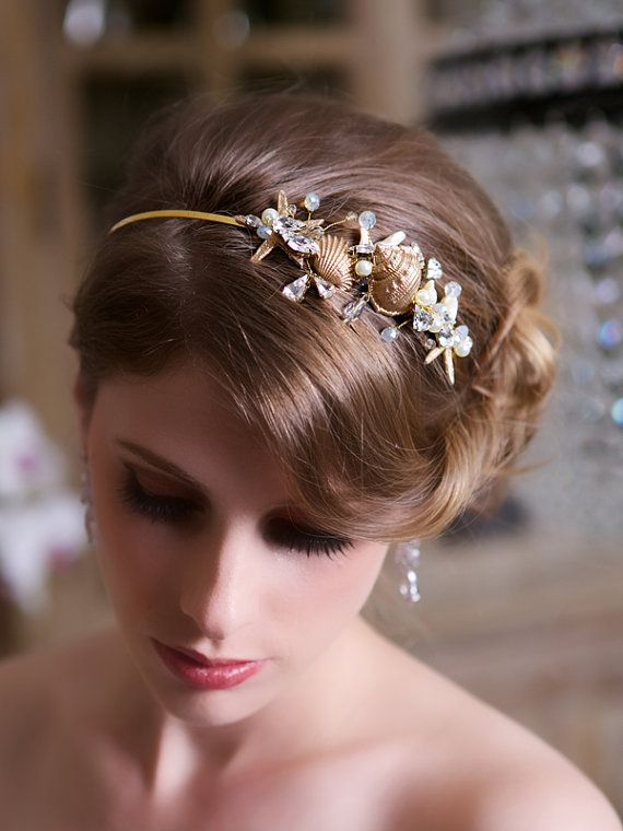 Beach wedding Starfish Headband, Gold Seashell Wedding ...