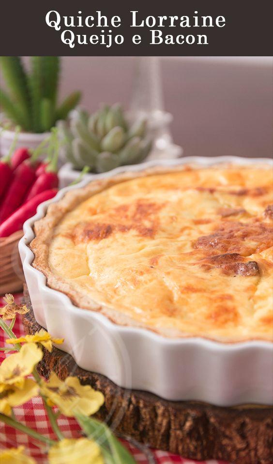 Quiche / Torta Francesa de Queijo e Bacon com Massa Podre.