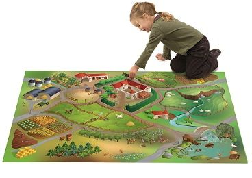 Farm Indoor Play Mat       Age 0+ Amazing farm mat which has interconnecting roads to our other mats. Polyester mat with an anti slip latex backing. Machine washable at 30 degrees. Great for all ages.