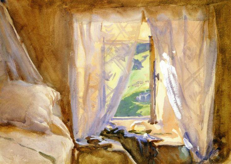 John Singer Sargent, Ventana del dormitorio, 1909-11. Acuarela, 24.8 x 34.3 cm, Colección particular