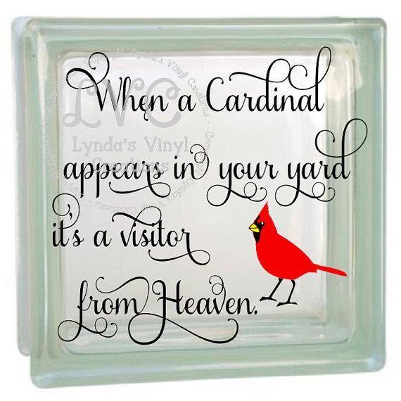 Vinyl Decals Near Me >> DIY When a Cardinal Glass Block Decal | Gifting | Pinterest | Painted glass blocks, Glass blocks ...